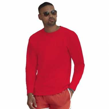 Lange mouwen stretch t shirt rood heren