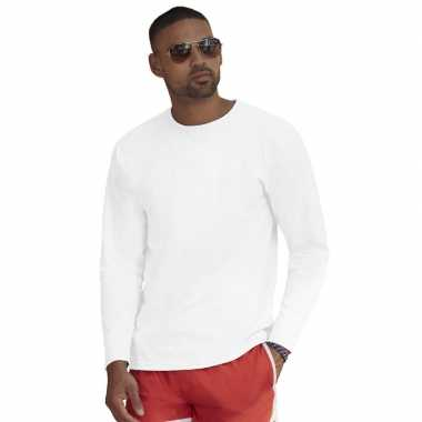 Lange mouwen stretch t shirt wit heren