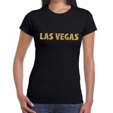 Las vegas gouden letters fun t shirt zwart dames