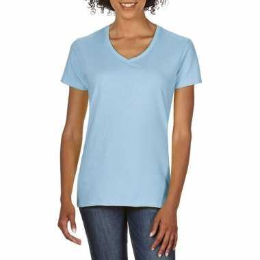 Licht blauwe dames casual t shirts v hals