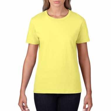 Licht gele dames casual t shirts ronde hals