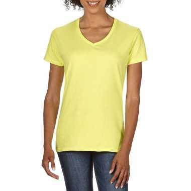 Licht gele dames casual t shirts v hals