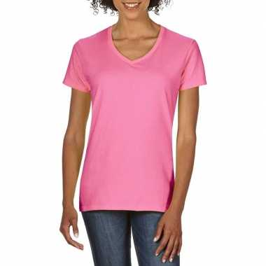 Licht roze dames casual t shirts v hals