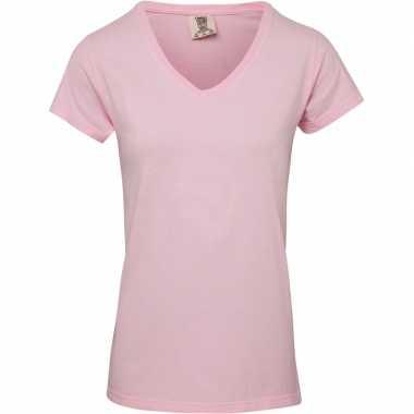 Licht roze dames t shirts v hals