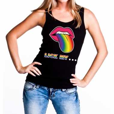 Lick my...gay pride tekst/fun shirt zwart dames