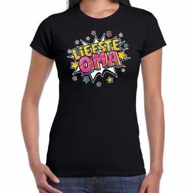 Liefste oma fun t-shirt zwart dames