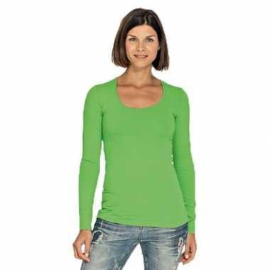 Limegroene longsleeve shirt ronde hals dames