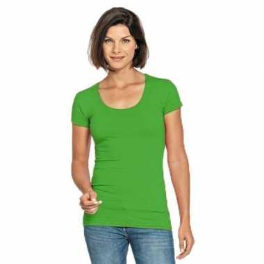 Limegroene shirt ronde hals dames