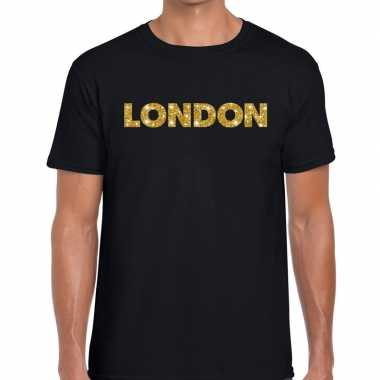 London goud letters fun t shirt zwart heren