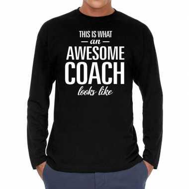 Long sleeve t shirt zwart awesome coach bedrukking heren