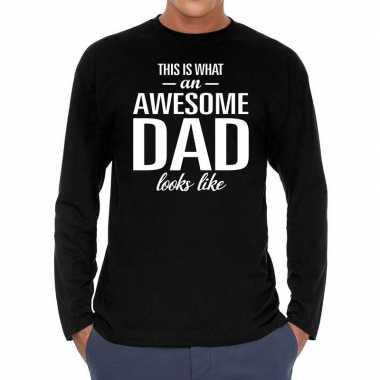 Long sleeve t shirt zwart awesome dad bedrukking heren