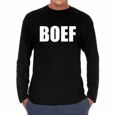 Long sleeve t shirt zwart boef bedrukking heren