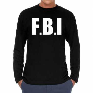 Long sleeve t shirt zwart f.b.i. bedrukking heren