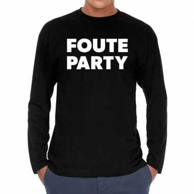 Long sleeve t shirt zwart foute party bedrukking heren