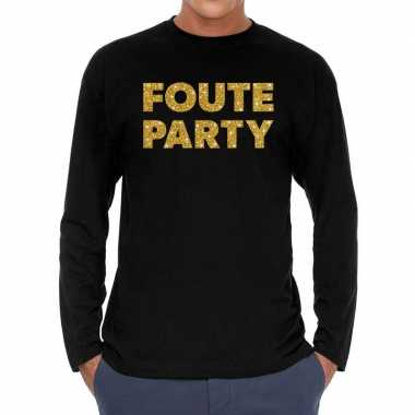 Long sleeve t shirt zwart foute party goud glitter bedrukking heren