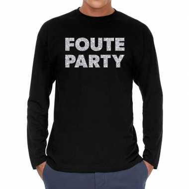Long sleeve t shirt zwart foute party zilver glitter bedrukking heren