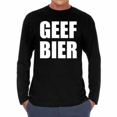 Long sleeve t shirt zwart geef bier bedrukking heren