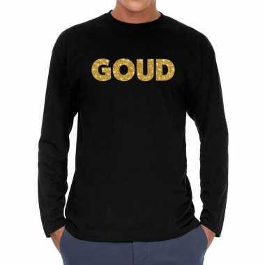 Long sleeve t shirt zwart goud glitter bedrukking heren