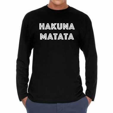 Long sleeve t shirt zwart hakuna matata bedrukking heren