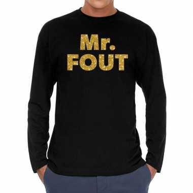 Long sleeve t shirt zwart mr. fout goud glitter bedrukking heren