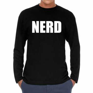 Long sleeve t shirt zwart nerd bedrukking heren