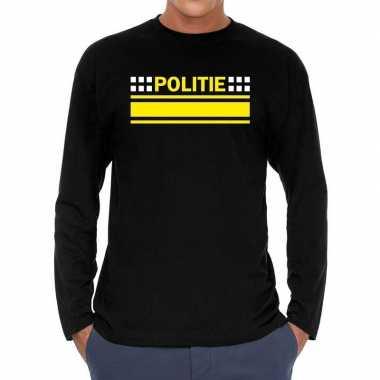 Long sleeve t shirt zwart politie bedrukking heren