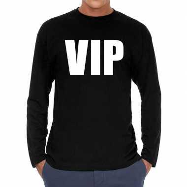 Long sleeve t shirt zwart vip bedrukking heren
