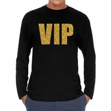 Long sleeve t shirt zwart vip goud glitter bedrukking heren