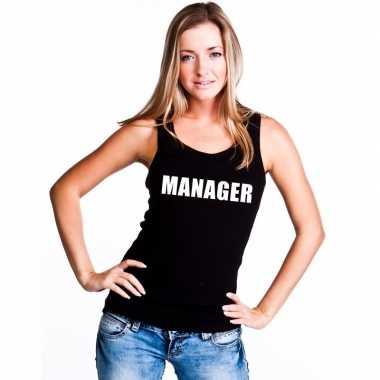 Manager mouwloos shirt zwart dames