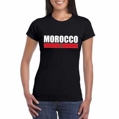 Marokkaanse supporter t shirt zwart dames