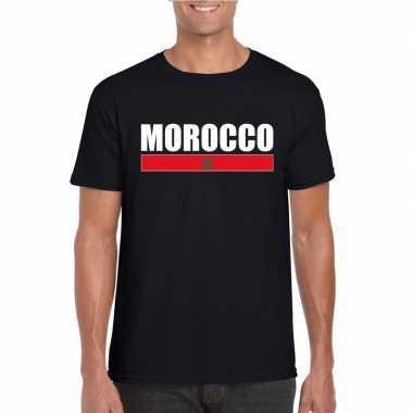 Marokkaanse supporter t shirt zwart heren