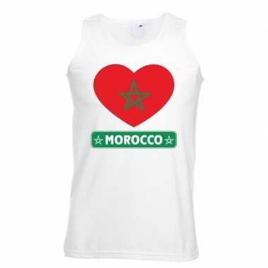 Marokko hart vlag mouwloos shirt wit heren