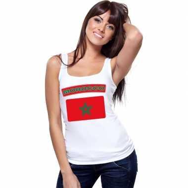 Marokko vlag mouwloos shirt wit dames