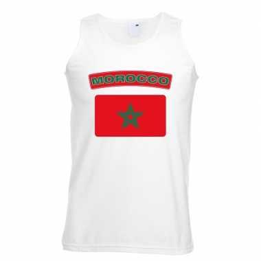 Marokko vlag mouwloos shirt wit heren