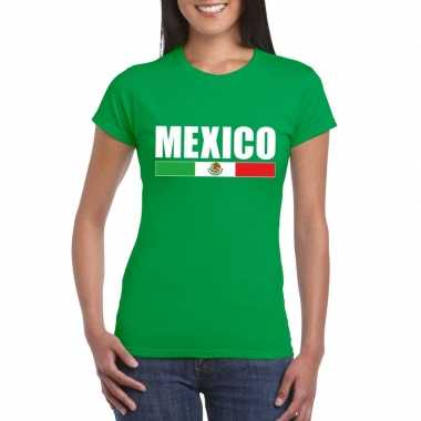 Mexicaanse supporter t shirt groen dames