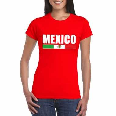 Mexicaanse supporter t shirt rood dames