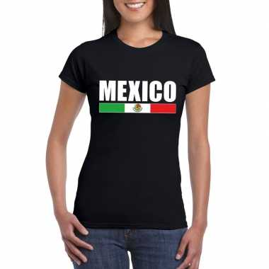 Mexicaanse supporter t shirt zwart dames