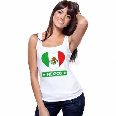 Mexico hart vlag mouwloos shirt wit dames