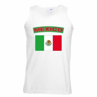 Mexico vlag mouwloos shirt wit heren