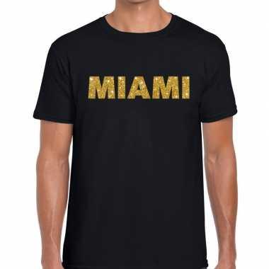Miami gouden letters fun t shirt zwart heren