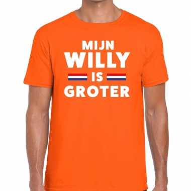 Mijn willy is groter t shirt oranje heren