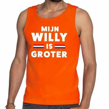 Mijn willy is groter tanktop / mouwloos shirt oranje heren