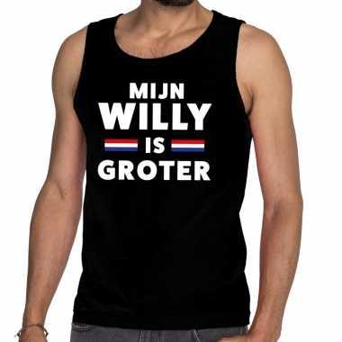 Mijn willy is groter tanktop / mouwloos shirt zwart heren