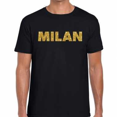Milan gouden letters fun t shirt zwart heren