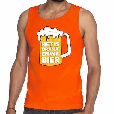 Mouwloos shirt oranje tekst is oranje wil bier heren