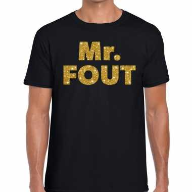Mr. fout gouden letters fun t shirt zwart heren