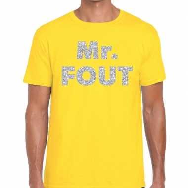 Mr. fout zilveren letters fun t shirt geel heren