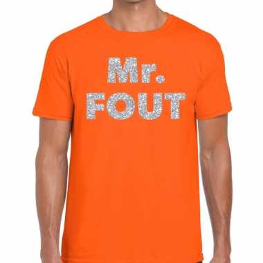 Mr. fout zilveren letters fun t shirt oranje heren