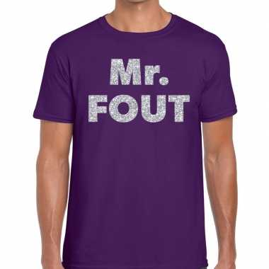 Mr. fout zilveren letters fun t shirt paars heren