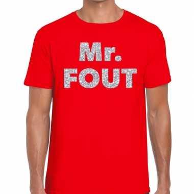Mr. fout zilveren letters fun t shirt rood heren